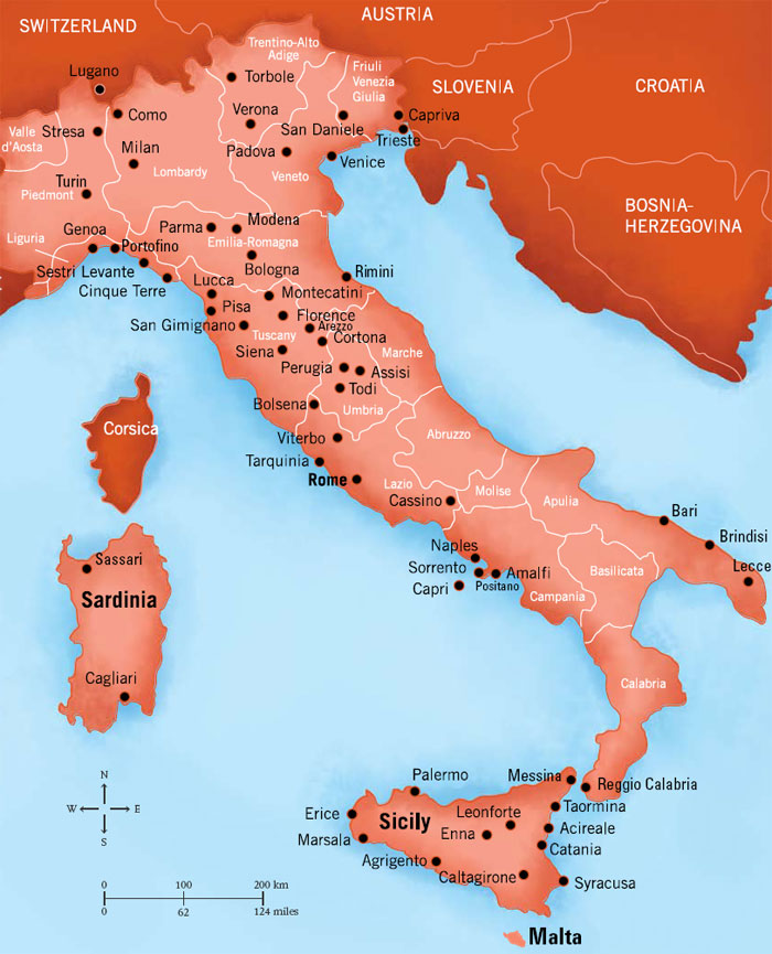 Large Map Of Italy.Andiamo